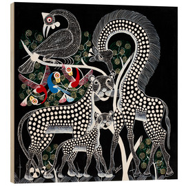 Wood print  Black Animals in the savanna - Rubuni