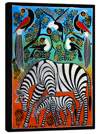 Canvas print  Zebras under a wild tree - Saidi