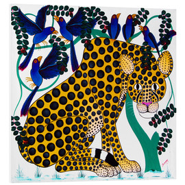 Foam board print  Cheetah seeks protection under the bird tree - Omary
