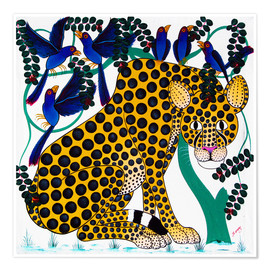 Premium poster  Cheetah seeks protection under the bird tree - Omary