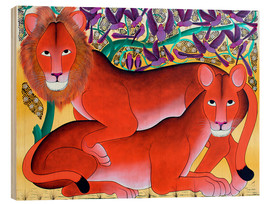 Wood print  Lion lioness protecting - Omary