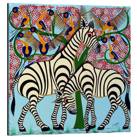 Aluminium print  Loyalty zebras under the tree - Omary