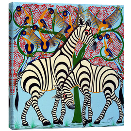 Canvas print  Loyalty zebras under the tree - Omary