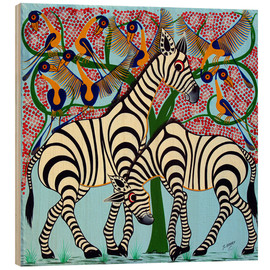 Wood print  Loyalty zebras under the tree - Omary
