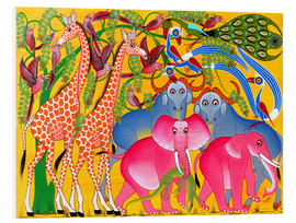 Foam board print  Groups of animals in the bush - Omary