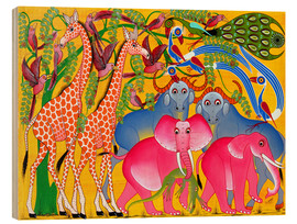 Wood print  Groups of animals in the bush - Omary