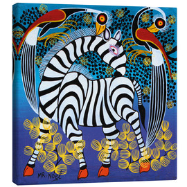 Canvas print  Zebra with herons - Noel