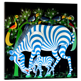 Acrylic print  Blue Zebras at night - Rafiki