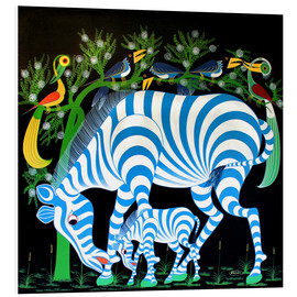 Foam board print  Blue Zebras at night - Rafiki