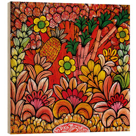 Wood print  Blooms in Orange - Mzuguno