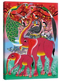Canvas print  Red Elephant with peacock - Noel
