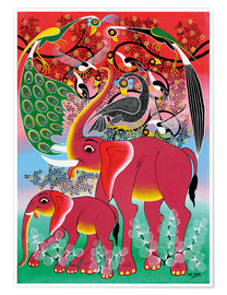 Premium poster Red Elephant with peacock