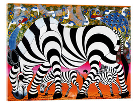 Acrylic glass  Zebras on foraging - Mustapha
