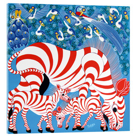 Acrylic print  Zebras in red - Mustapha