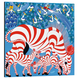 Aluminium print  Zebras in red - Mustapha