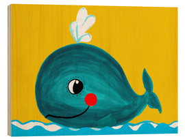Wood print  Frida, the friendly whale - Little Miss Arty