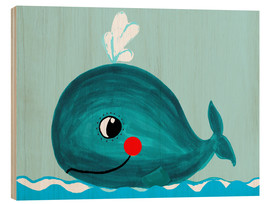 Wood print  Willow, the friendly whale - Little Miss Arty