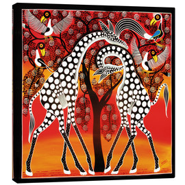 Canvas  Giraffes cuddle under a tree - Mangula