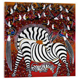 Acrylic glass  Zebra with a large flock of birds - Hassani