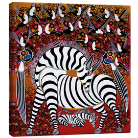 Canvas print  Zebra with a large flock of birds - Hassani