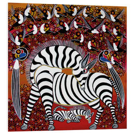 Foam board print  Zebra with a large flock of birds - Hassani