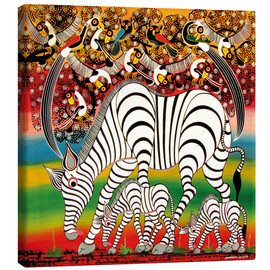 Canvas print  Zebra herd flock of birds - Chiwaya