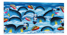 Foam board print  Blue Hippos in bathroom - Mrope