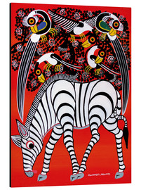 Aluminium print  The zebra with bird couple - Chiwaya