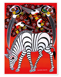 Premium poster  The zebra with bird couple - Chiwaya