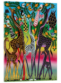 Acrylic glass  Giraffes in African colors - Maulana