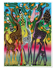 Premium poster  Giraffes in African colors - Maulana