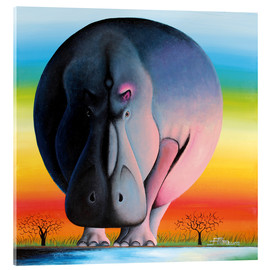 Acrylic glass  Hippo at dusk - Mkura