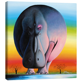 Canvas  Hippo at dusk - Mkura