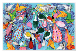 Premium poster  A flock of birds with butterflies - Allyys