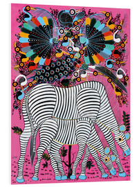 Foam board print  Zebra couple with magnificent flock of birds - Lewis
