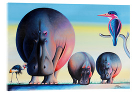 Acrylic print  Hippo mother with cubs - Mkura
