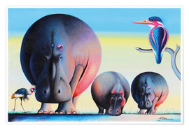 Premium poster  Hippo mother with cubs - Mkura
