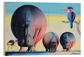 Wood print  Hippo mother with cubs - Mkura