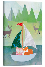 Canvas print  Cute Owl and Fox Boat - GreenNest