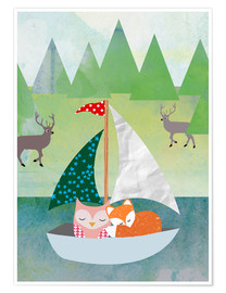 Premium poster  Cute Owl and Fox Boat - GreenNest