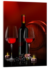 Acrylic glass  Two wine glasses with red wine bottle and grapes - Kalle60