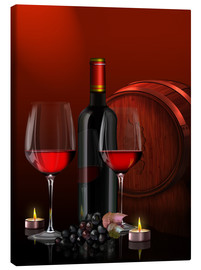 Canvas  Two wine glasses with red wine bottle and grapes - Kalle60