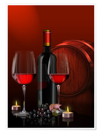 Premium poster Two wine glasses with red wine bottle and grapes