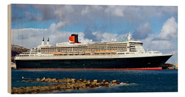 Wood print  Queen Mary 2 in the port of La Palma - MonarchC