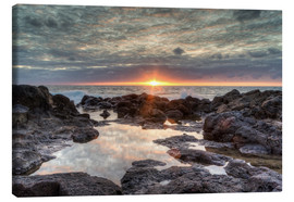 Canvas print  Sunset on the sea in Bajamar in Tenerife - Michael Valjak