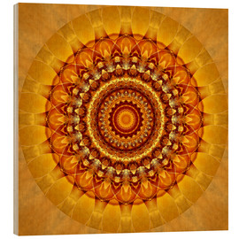 Wood print  Mandala bright yellow - Christine Bässler