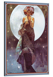 Aluminium print  The Moon, adaptation - Alfons Mucha