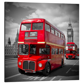 Aluminium print  LONDON Red Buses - Melanie Viola