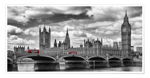 Premium poster LONDON Westminster Bridge Panoramic