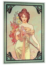 Acrylic print  Spring brunette - Alfons Mucha